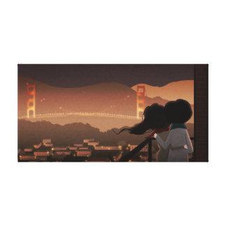 """Medio de puente Golden Gate - la """"ciudad se encien Lienzo Envuelto Para Galerias"""
