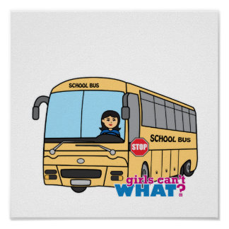 Medio del conductor del autobús escolar póster