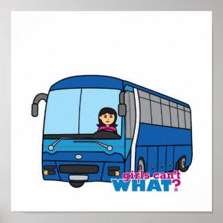 Medio del conductor del autobús póster