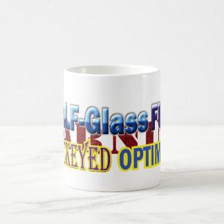 Medio diseño completo de cristal del texto del taza