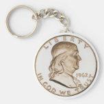 Medio dólar de Franklin Llavero Redondo Tipo Pin