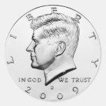 Medio dólar de JFK (paquete de 6/20) Pegatina Redonda