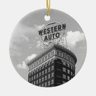 Medio edificio auto occidental del cilindro adorno navideño redondo de cerámica