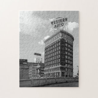 Medio edificio auto occidental del cilindro puzzle con fotos