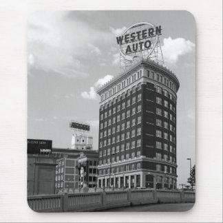 Medio edificio auto occidental del cilindro tapetes de ratones