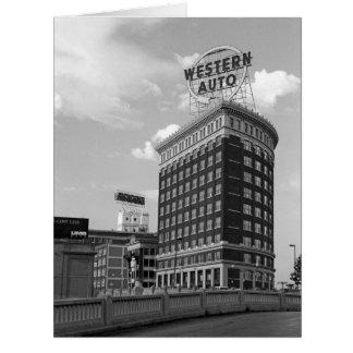 Medio edificio auto occidental del cilindro tarjeta de felicitación grande