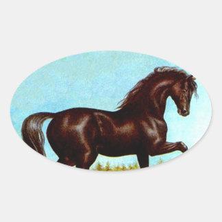 Medio galope de la suposición del caballo de la pegatina ovalada
