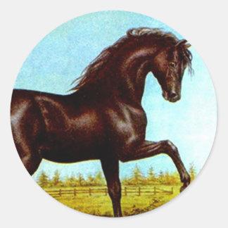 Medio galope de la suposición del caballo de la pegatina redonda