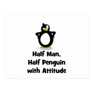 Medio hombre, medio pingüino con actitud postales