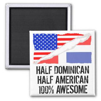 Medio impresionante americano a medias dominicano imán cuadrado