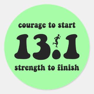 Medio maratón inspirado pegatina redonda
