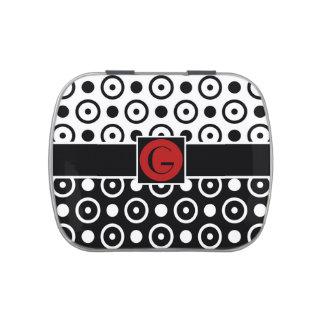 Medio monograma medio blanco negro elegante de los latas de caramelos