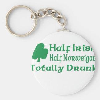 Medio Norweigan a medias irlandés totalmente impre Llavero Redondo Tipo Pin