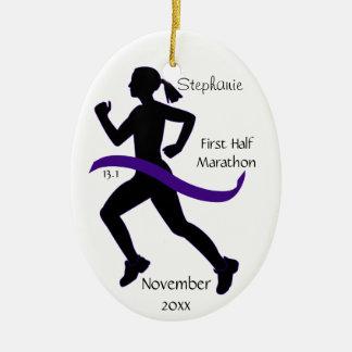 Medio ornamento del corredor de maratón de la ornamento para arbol de navidad