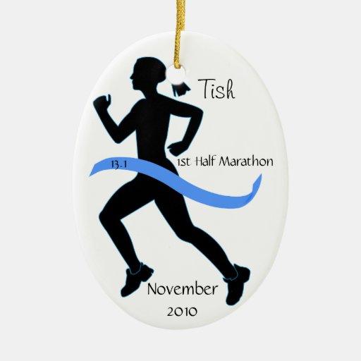 Medio ornamento del corredor de maratón de la adorno ovalado de cerámica