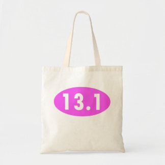Medio óvalo del maratón del rosa 13,1 bolsa tela barata