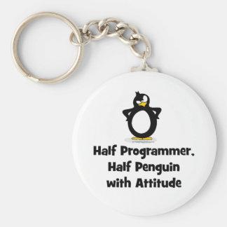 Medio pingüino del medio programador con actitud llavero redondo tipo pin