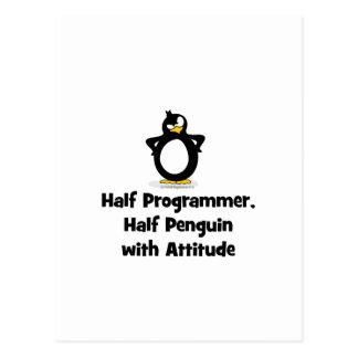 Medio pingüino del medio programador con actitud postal