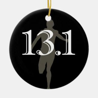 Medio recuerdo personalizado del maratón del adorno navideño redondo de cerámica
