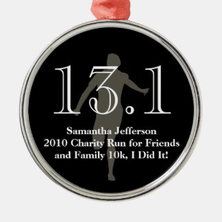 Medio recuerdo personalizado del maratón del adorno navideño redondo de metal