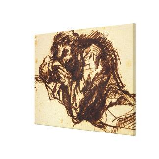 Medio retrato de la longitud de un hombre que dobl impresion de lienzo
