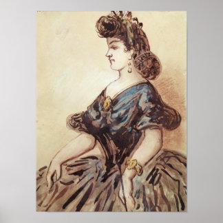 Medio retrato de la longitud de una mujer impresiones