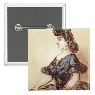 Medio retrato de la longitud de una mujer pin cuadrada 5 cm