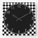Medio tablero de damas blanco negro elegante del d reloj de pared