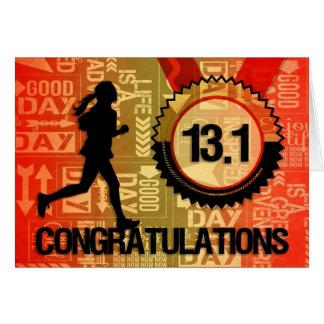 Medio tema de los deportes de la enhorabuena del f tarjeta de felicitación