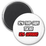 Medio tercer super héroe del profesor del grado… a imán de frigorifico