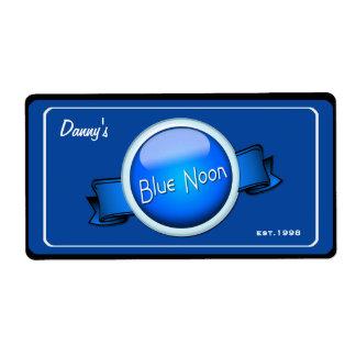 Mediodía del azul de la etiqueta de la parodia de  etiqueta de envío