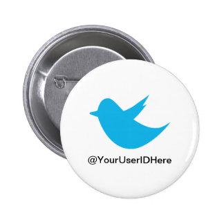 Medios azules del Social del pájaro Pin Redondo De 2 Pulgadas