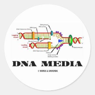 Medios de la DNA Pegatina Redonda