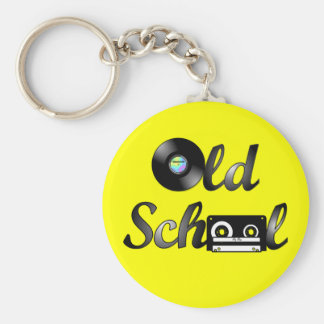 Medios de la música de la escuela vieja (amarillo) llavero redondo tipo pin