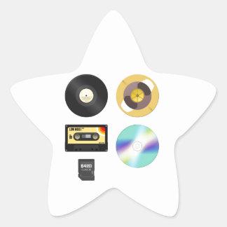 Medios de la música pegatina en forma de estrella