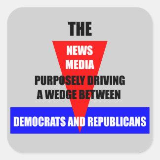 medios de noticias pegatina cuadrada