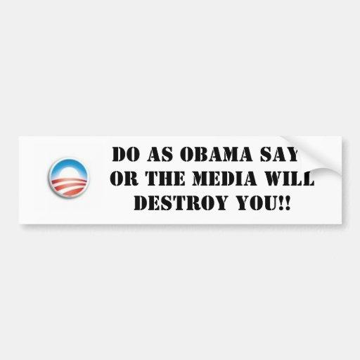 Medios de Obama Etiqueta De Parachoque