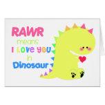 Medios de RAWR te amo en AMARILLO de la tarjeta de