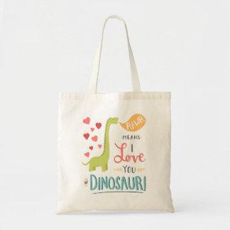 Medios de Rawr te amo en dinosaurio Bolsa Tela Barata