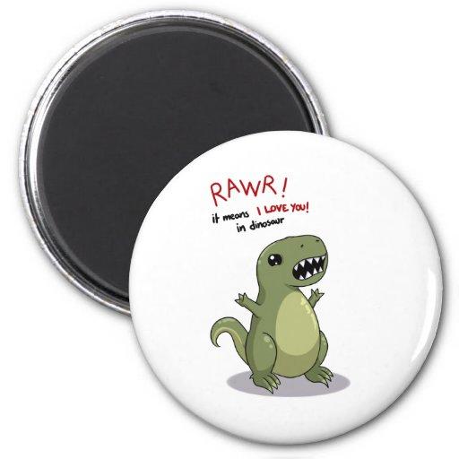 Medios de Rawr te amo en dinosaurio Imán Redondo 5 Cm
