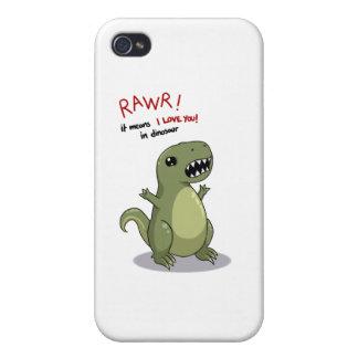 Medios de Rawr te amo en dinosaurio iPhone 4 Carcasas