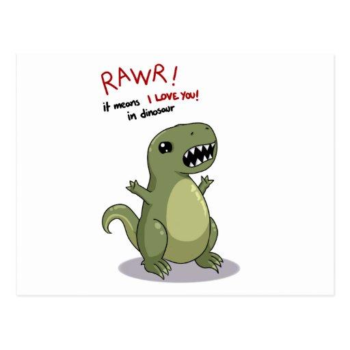 Medios de Rawr te amo en dinosaurio Postal | Zazzle