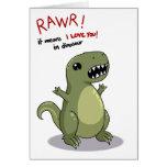 Medios de Rawr te amo en dinosaurio Tarjeta