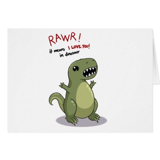 Medios de Rawr te amo en dinosaurio Tarjetas