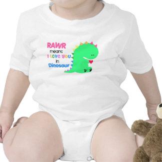 Medios de Rawr te amo en enredadera del bebé del D Camiseta