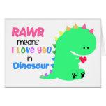 Medios de RAWR te amo en la tarjeta #1 del dinosau