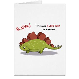 Medios de Rawr te amo en Stegosaurus del dinosauri Tarjeta De Felicitación
