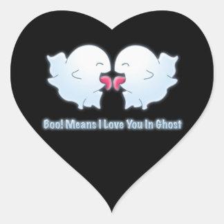 Medios del abucheo te amo en fantasma pegatina en forma de corazón