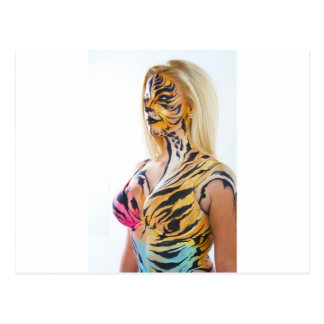 Medios mujer/a medias tigre tarjetas postales