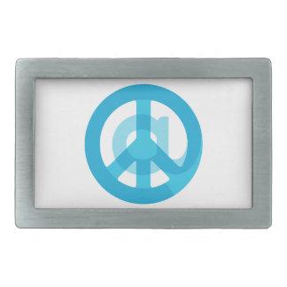 Medios sociales de la muestra azul del @Peace en Hebillas De Cinturon Rectangulares